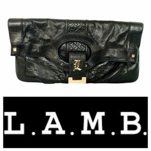 L.A.M.B. Carlisle Convertible Leather Black Clutch